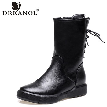 DRKANOL 2020 Autumn Winter Motorcycle Boots Vintage PU Leather Flat Mid Calf Women Female Cross Tied Fur Snow H6092 - discount item  30% OFF Women's Shoes