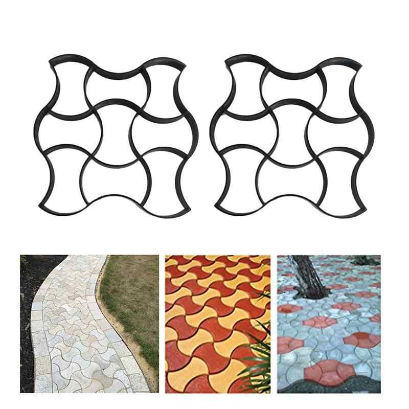 Garden DIY Plastic Path Maker Pavement Model Concrete Stepping Stone Cement Mould Brick Path Driveway Clay Pavement Mold