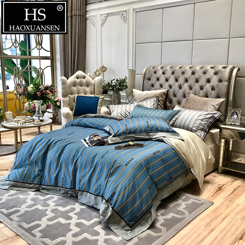 Luxury Blue Striped Pattern 4pcs Bedding Sets Egyptian Cotton Queen King Size Bed Cover Set 800 Thread Count Adult Bedsheet SetLuxury Blue Striped Pattern 4pcs Bedding Sets Egyptian Cotton Queen King Size Bed Cover Set 800 Thread Count Adult Bedsheet Set
