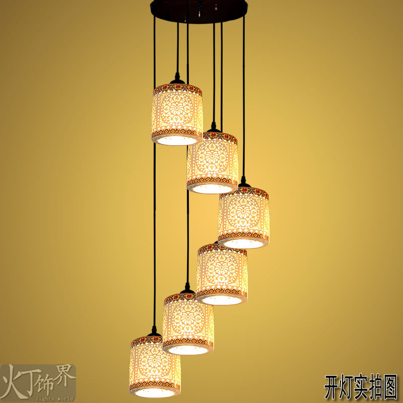 Cheap Authentic Modern Chinese Jingdezhen Ceramic Lamp Lamps Living Room  Lamps Hanging Double Staircase Lighting ...
