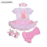 Cute Rabbit Baby Easter Outfits Jumpsuit Vestido Infantil 4PCS Newborn Tutu Sets Infant Clothes Toddler Girl