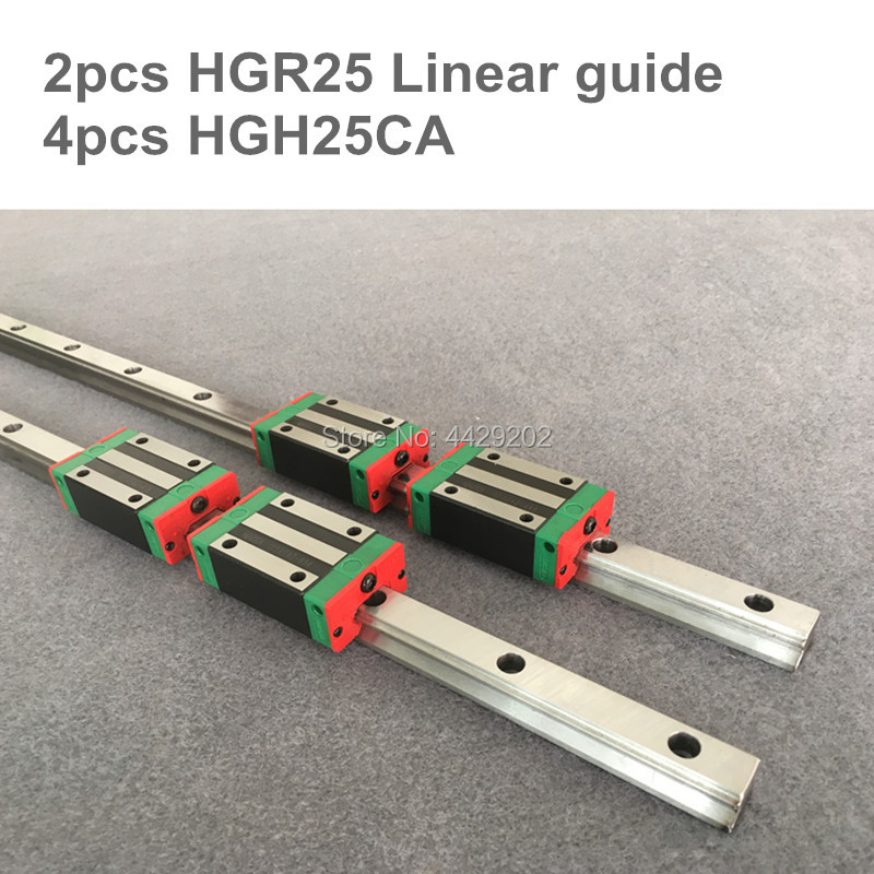 2pcs linear guide rail HGR25 - 1100 1200 1500 mm  with 4 pcs of linear block carriage HGH25CA  CNC parts2pcs linear guide rail HGR25 - 1100 1200 1500 mm  with 4 pcs of linear block carriage HGH25CA  CNC parts