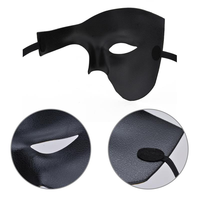 Image 3 - FunPa Venetion Mens Party Mask Half Face Phantom Of the Opera Mask Handsome Halloween Mardi Gras Mask Halloween Masquerade Mask-in Party Masks from Home & Garden