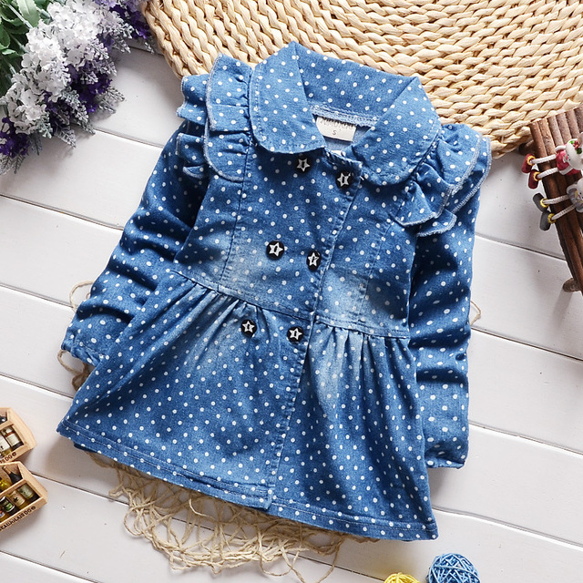 BibiCola  spring new children girls lovely polka dots denim jacket female baby cotton jean lapel coat kids emperament outfits