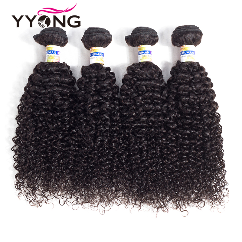 Yyong Hair Brazilian Kinky Curly Hair 4 Bundles 100% Human Hair Weave Bundles Natural Color Non Remy Human Hair Bundles