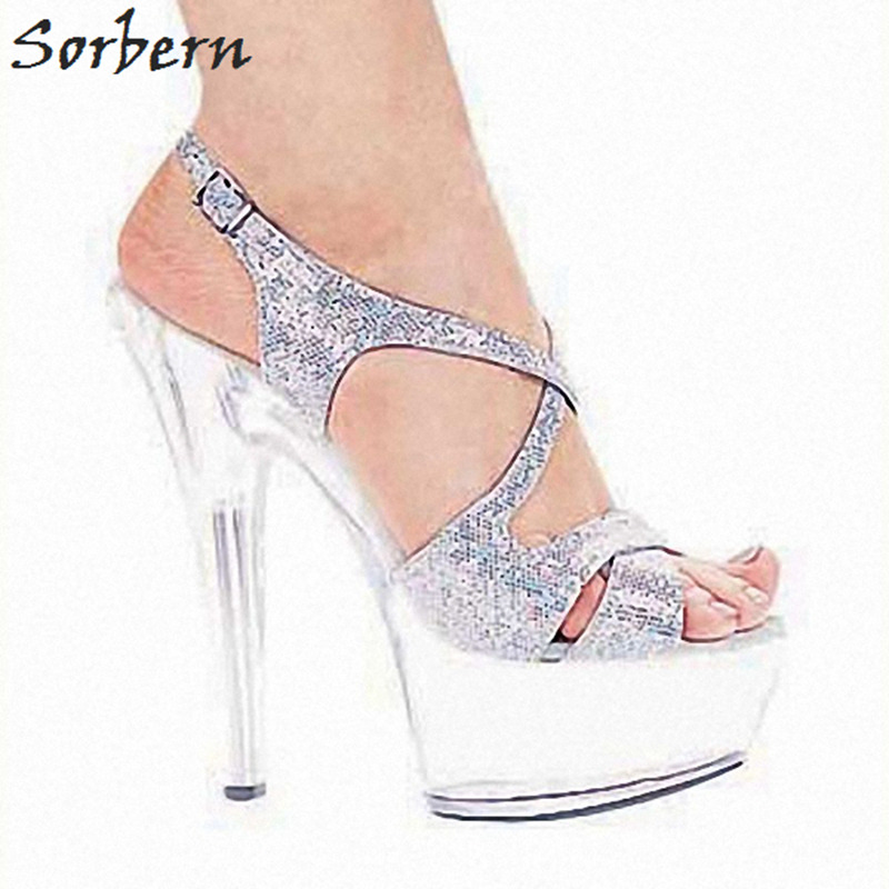 Sorbern Transparent Sole Sandals Handmade Customization Silver Glitter Heel Shiny Shoes For Women Plus Size Summer Party SandalsSorbern Transparent Sole Sandals Handmade Customization Silver Glitter Heel Shiny Shoes For Women Plus Size Summer Party Sandals