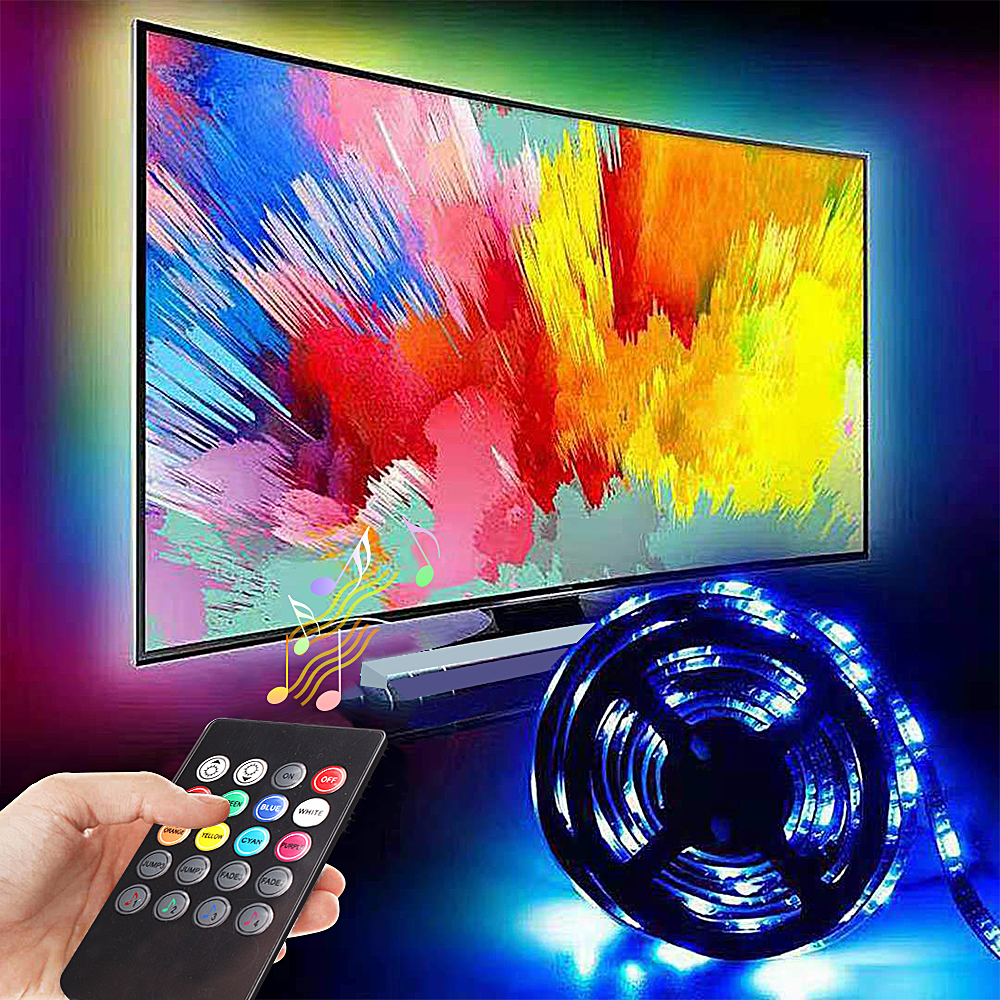 5050 RGB USB LED Light Cabinet Kitchen Diode Lighting With 20Keys Remote Music Controller LED Strip Lights For Home Bedroom Lamp