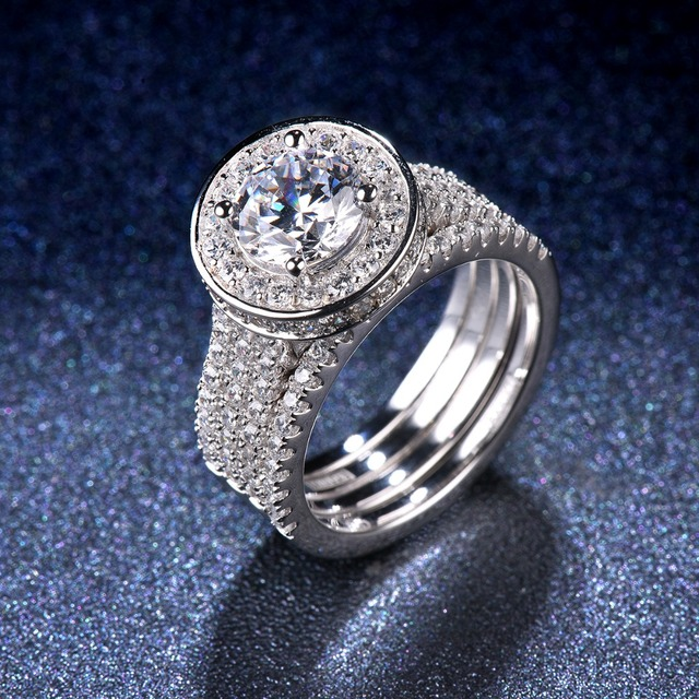 Lady's Luxury 1.5 Carats Diamond Halo Wedding Ring Sets 2-in-1 Solid 925 Sterling Silver CZ Engagement Ring For Women Bridal