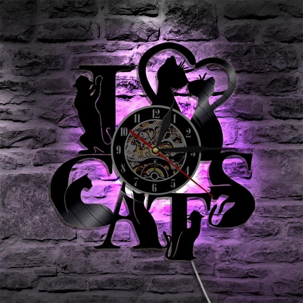 Светодиодный настенные часы Современный Дизайн Винтаж Стиль с 7 цветов изменить я люблю кошек тема 3D винил часы настенные часы для дома деко...