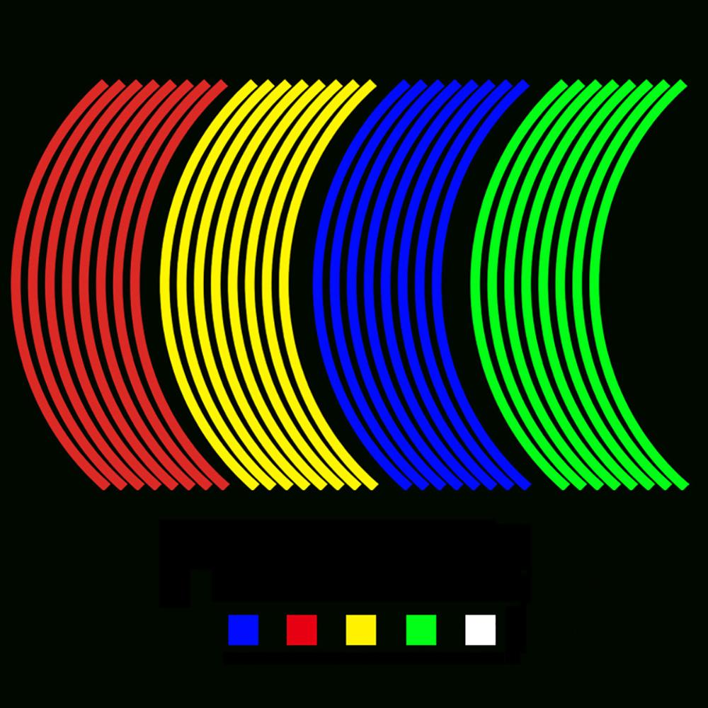 16Pcs 18inch Strips Motorcycle Car Rim Reflect Stripe Wheel Decal Tape Sticker Lots Reflective Material Road Safety Reflect Tape