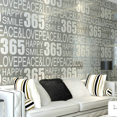 Modern 3d flocking embossed 365 letter digital grey wallpaper TV SOFA background 3d wall wallpaper papel de parede 3d wall paper battlefield 3 или modern warfare 3 что