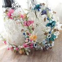 Sweety Handmade Bridal Tóc Phụ Kiện Màu Hồng & Blue Flower Vine Chi Nhánh Headband Tiara Đám Cưới Cô Dâu Prom Đảng Nón Tóc Tháng Mười Hai