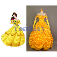 Beauty and The Beast Princess Belle Cosplay Premium Deluxe Edition Fancy Dress Gown Women's Halloween Costume Express Shipping