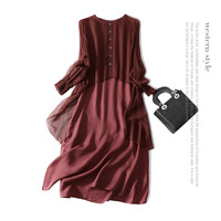 Fake two pieces 100% silk dress new 2018 spring summer dress long sleeve women brand runway solid A line dress high end vestidos