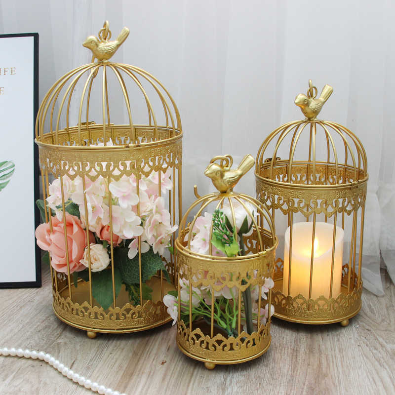 golden Modern iron wrought metal birdcage white small middle Sets large bird cage decoration hanging flowerpot succulent plants