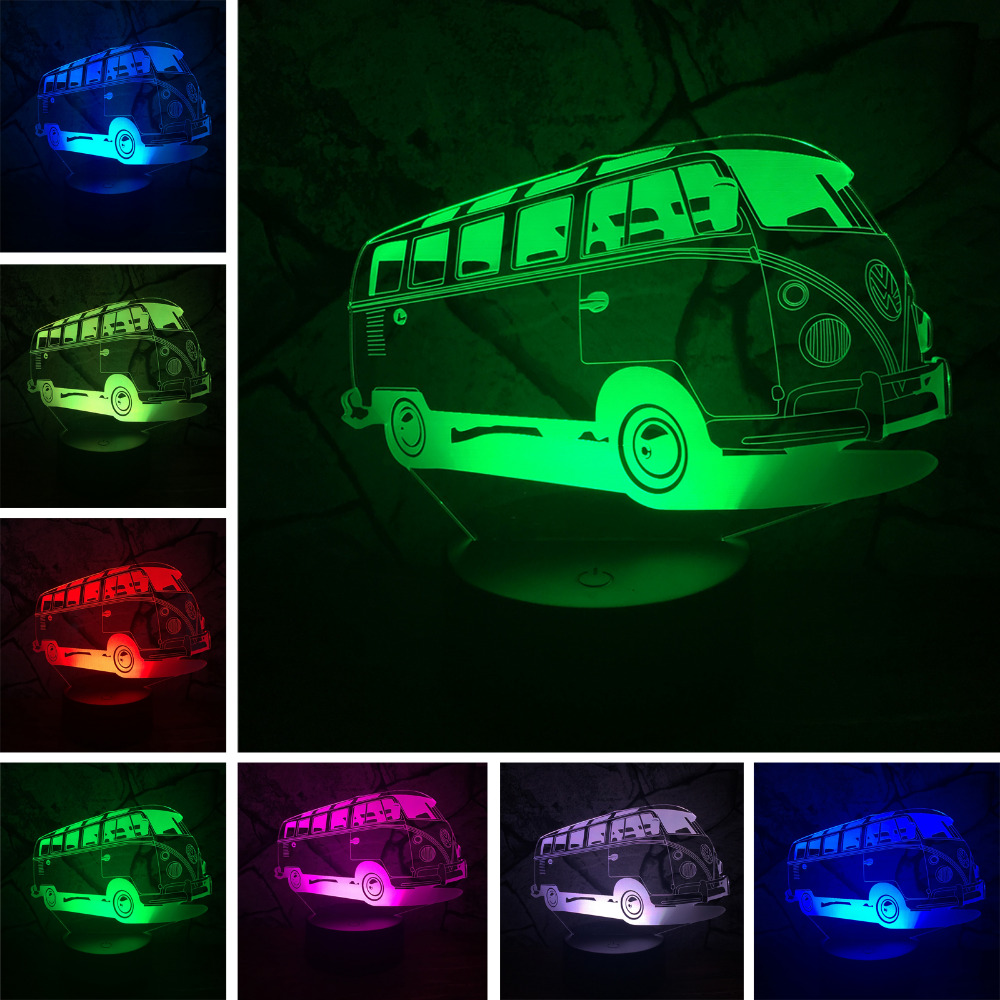 3D Lamparas Nanny Car Bus 7 Color Change Gradient RGB Night Light Illusion Bedroom Bedside Lamp Decor Child Kids Xmas Toy Gifts wine cup bottle modelling 3d table lamp led 7 colorful acrylic night light xmas kids gifts sleep lighting bedroom bedside decor
