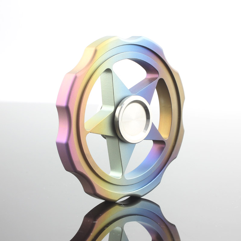 Hexagonal Tri Fidget Spinner Hand Finger Widget Anti Stress Top Rotation Spinning Rainbow Titanium Spiner Metal Toys For Adult