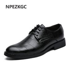 NPEZKGC Men Leather Shoes Fashion Korea Loafers Comfortable Pointed Toe Business Black Dress Soft