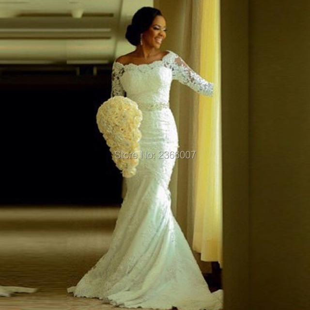 HS295 Vintage 3/4 Sleeve Mermaid Lace Wedding Dresses 2016 beading Latest custom made Plus Size Bridal Gowns