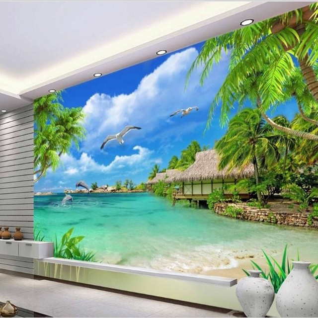 Beibehang Custom Large Fresco High   Definition Coconut Tree Scenery  Background Wall Fabric Wallpaper Papel De