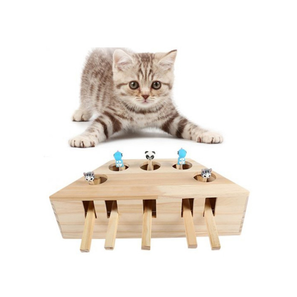 Cat Hunt Toy Chase Mouse Solid Wooden Interactive Maze Pet Hit Hamster With 3/5-holed Mouse Hole Catch Bite Catnip Funny Toy