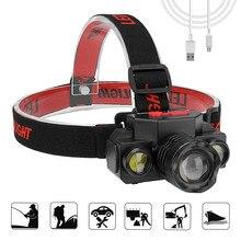 USB 充電式 COB Led ヘッドランプヘッドライト 90 度 Rotatary ヘッドランプトーチ懐中電灯防水狩猟やハイキング