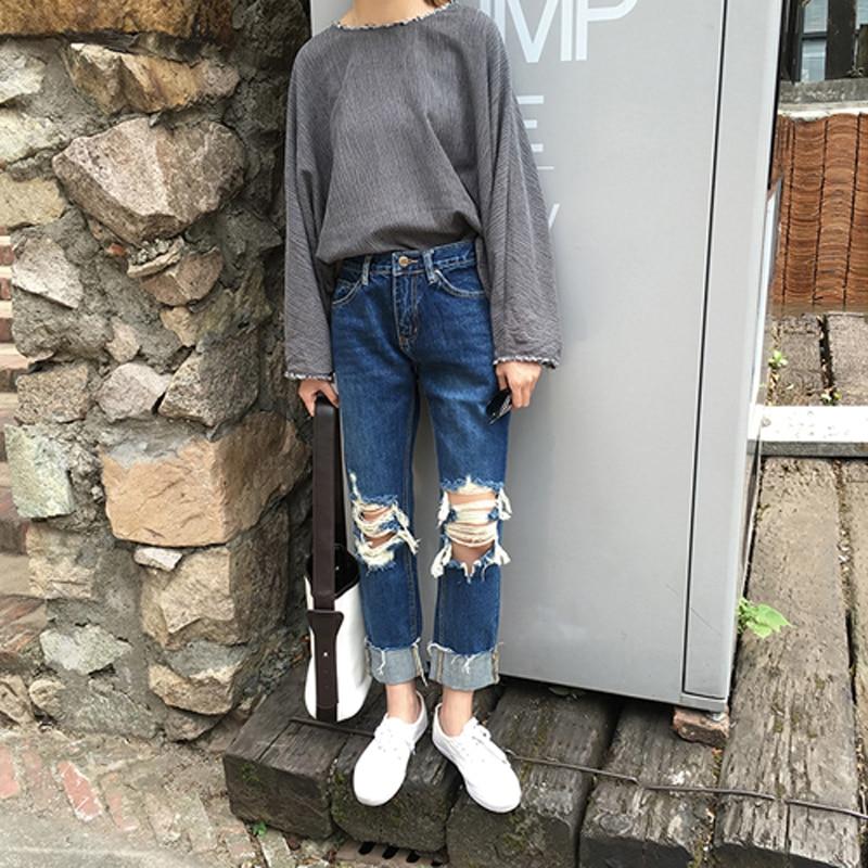 Washed Blue Hole Old Burr Edge Jeans Pants Wide Leg Pants Ladies Trousers Winter Pants Women