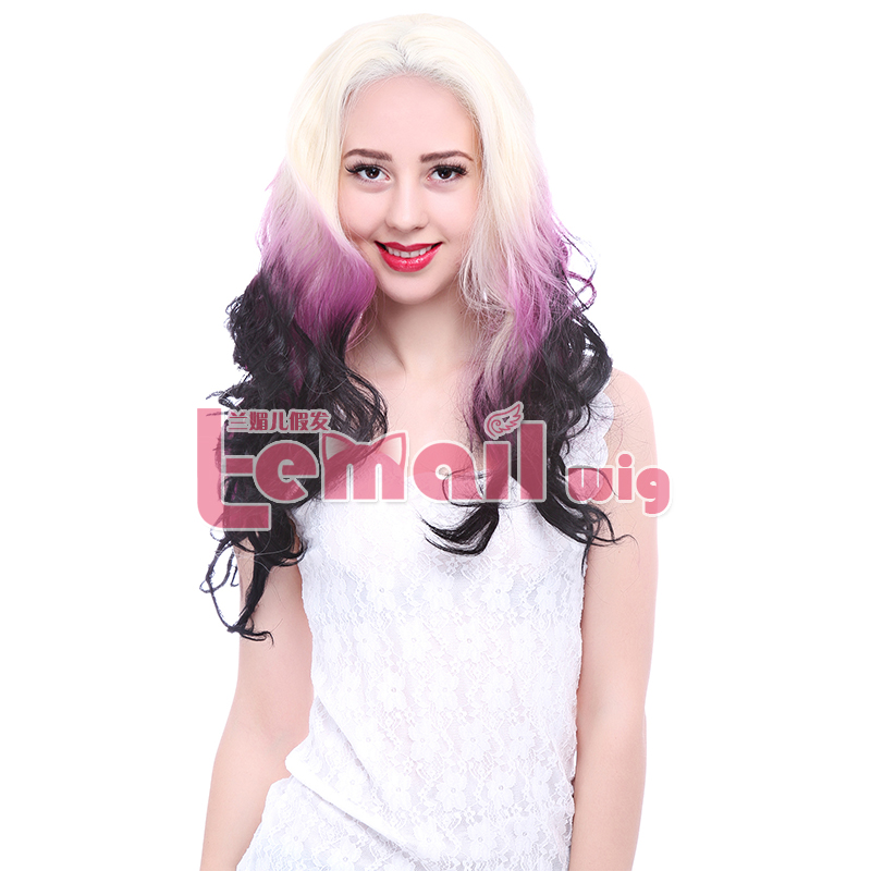 ФОТО 2015 Fashion High Quality 24inch Long Curly Mix Color Blonde Purple Black Synthetic Ombre Lace Front Wig