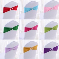HAZY 100 pcs Spandex Lycra Chair Sashes Bow Cover Chair Sashes Chair Cover Sash Bands Wedding Party Decoration