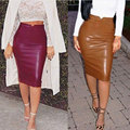 Fashion Women Pu Faux Leather Skirt High Waist Bodycon Tight Stretch Female Pencil Midi Skirts Womens Saias Femininas 24