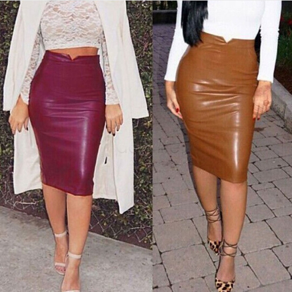 Popular Faux Leather Skirt-Buy Cheap Faux Leather Skirt lots from ...