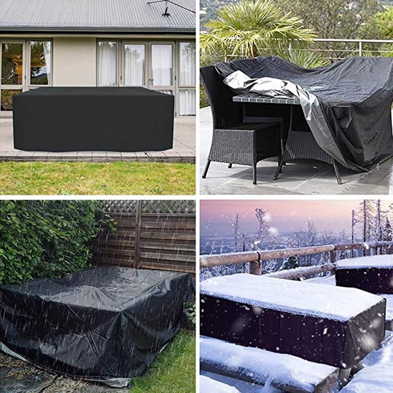 Muebles de tela Oxford cubierta a prueba de polvo para mesa de mimbre Silla de cubo sofá impermeable lluvia jardín patio al aire libre funda protectora BLK