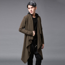 2017 Men s clothing Outerwear trench male medium long cloak outerwear loose personality outerwear The singer