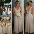 2016 New Honor Of Brides Pastel Bridesmaid Dresses Wedding Guest Formal Gown With A-line Scoop Backless Chiffon Lace Cheap