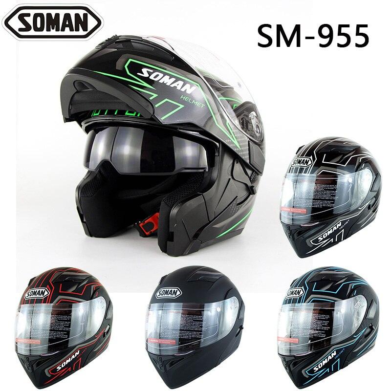 Soman Brand 955 Motorcycle Helmet Casco Double Lens Mudual Casque Dual Use Motor Bike Helmets sportsart a 955