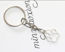 Dog Cat Paw Print Charm DIY Keychain Key Chain Keyring Fashion Pendant Jewelry 50pcs/lot Gift for Animal Lovers New Hot