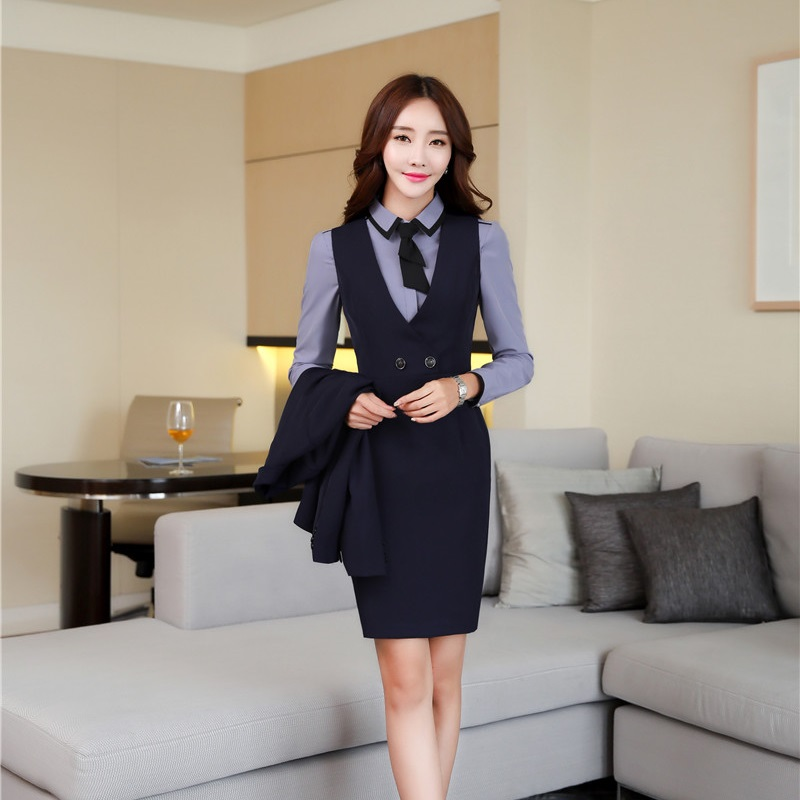 Autumn Winter OL Styles Slim Blazers Suits With Blouses And Dress For Ladies Office Blazer Dress Sets Plus Size Elegant Blue