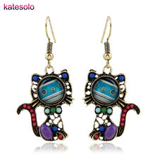 New Design Cat Earrings Long Dangle Ethnic Earrings Acrylic Beads Pattern 2017 Fashion jewelry for Woman Charm Hanging Earring