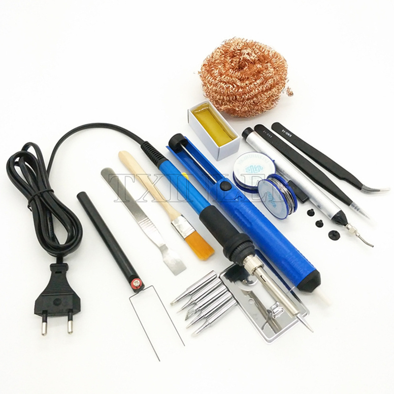 60W Adjustable Temperature Electric Soldering Iron Set Welding Repair Tool Kit With 5 Solder Tips Wire 220V/110V