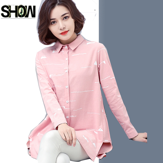 dddd394a493d08 Long Tops New Hot Sales Women Fashion Korea Design Casual Loose Blouses  Elegant Office Lady Pink