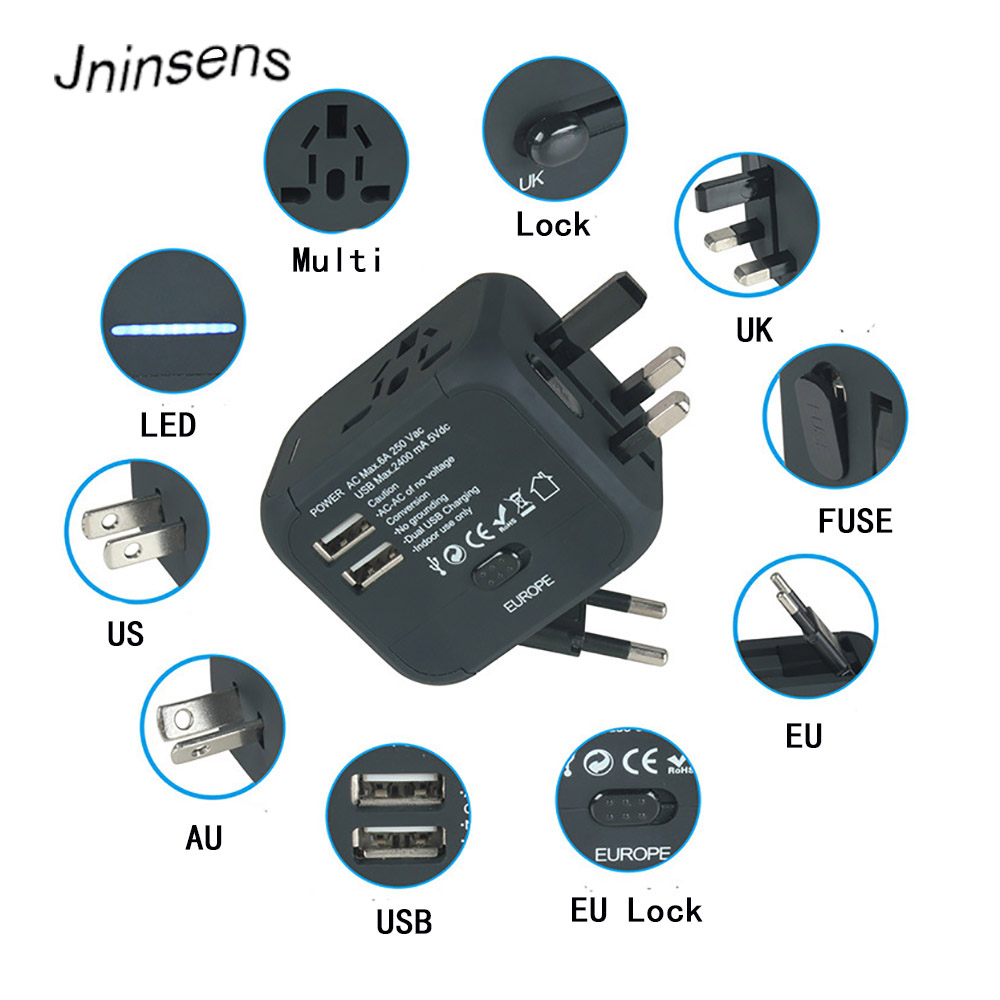 New Universal Travel Adapter Plug Electric Plugs Sockets Converter US/AU/UK/EU with Dual USB Charging 2.4A LED Power Indicator
