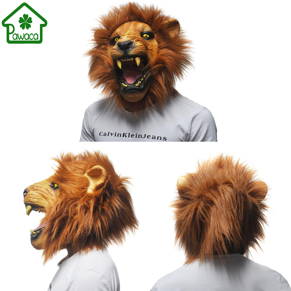 1 Pcs Réaliste Angry Lion Head Latex Masques Visage Complet Animal Masque Effrayant Masque Halloween Party Cosplay Prop Mascarade Déguisement