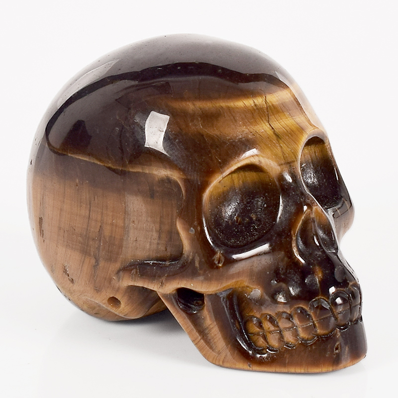 2 Inch Handmade Natural Tiger Eye Skull  Crystal Carved Statue Realistic Feng Shui Healing Home Ornament Art Collectible
