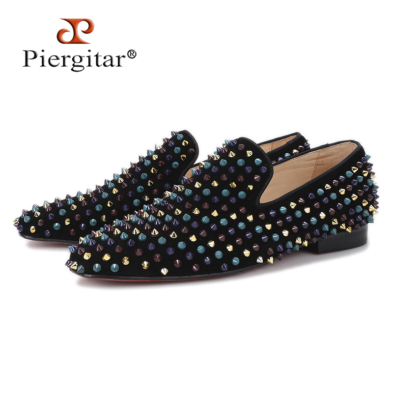 Piergitar 2017 men leather shoes with mixed colors rivets luxurious smoking slipper Prom and Banquet men casual loafers big size