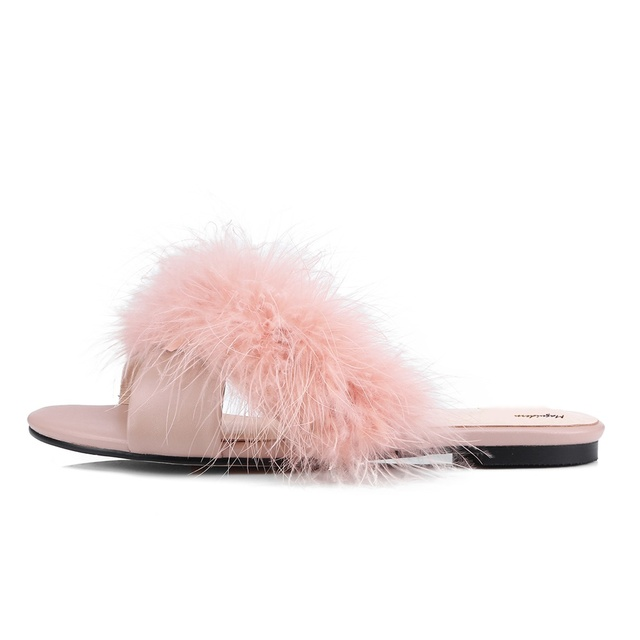 d9b487af8bc6 Maguidern Fur Slides Women Ostrich Home Slippers Feathers Fluffy Sandals  Beach Shoes Summer Fashion Slippers