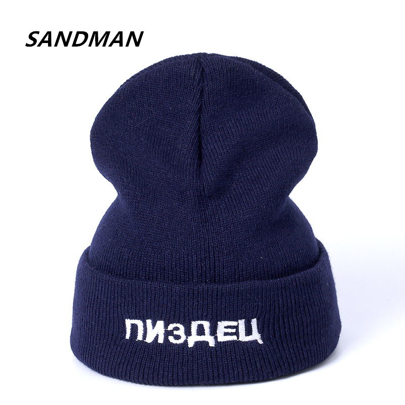 SANDMAN Russian Letter Casual Beanies for Men Women Knitted Winter Hat Solid Color Hip-hop Skullies Bonnet Unisex Cap Gorro russian phrase book