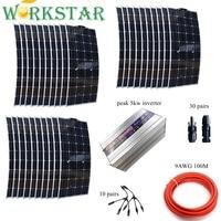 3000 Вт солнечная система для 30 шт. гибкая 100 Вт солнечные панели 5квт чистый инвертор синуса с установкой аксессуары от сетки 3кВт Солнечная