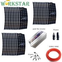 3000W Solar System for 30pcs Flexible 100W Solar Panels 5kw Pure Sine Inverter with Installation Accessories Off Grid 3KW Solar