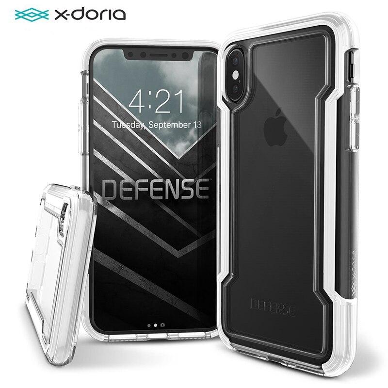 X-Doria Défense Clair Téléphone Cas Pour iPhone XS X Militaire Baisse De Qualité Testé Étui de protection Coque Pour iPhone XS X 10 Couverture Arrière