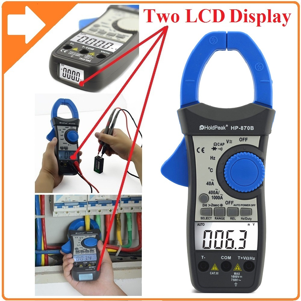 HoldPeak HP-870B Auto Range DC AC Digital Clamp Meter Multimeter Pinza Amperimetrica Amperimetro Backlight Auto Power Off mini multimeter holdpeak hp 36c ad dc manual range digital multimeter meter portable digital multimeter page 2